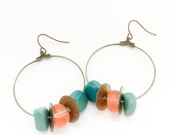Bead Earrings, Bead Hoop Earrings, Boho Hoops