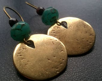 Ethnic turquoise earrings picasso glass bead