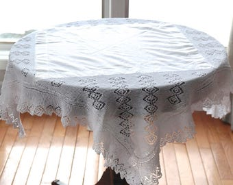 """Solid WhiteTablecloth,42"""" Square Table Cloth,Cotton and Crocheted Lace Wedding Linens, Small Vintage Tablecloth,Cottage Chic Retro Linens"""