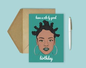 Rihanna Birthday Card (Greeting Card, Celebrity Pop Culture Card, Pop Culture Birthday Card)