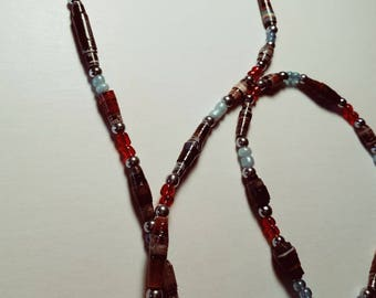 Multi color paper and glass bead necklace