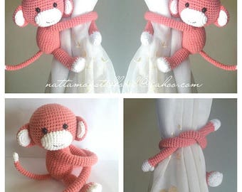 A pair of Coral Monkeys Curtain Tiebacks (Both side)    MADE TO ORDER..