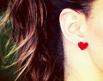 Heart Stud Earrings - Passionate Love Resin Earrings - Scarlet Red - 925 Sterling Silver Posts - Gift For Her - Braidsmaid Gift