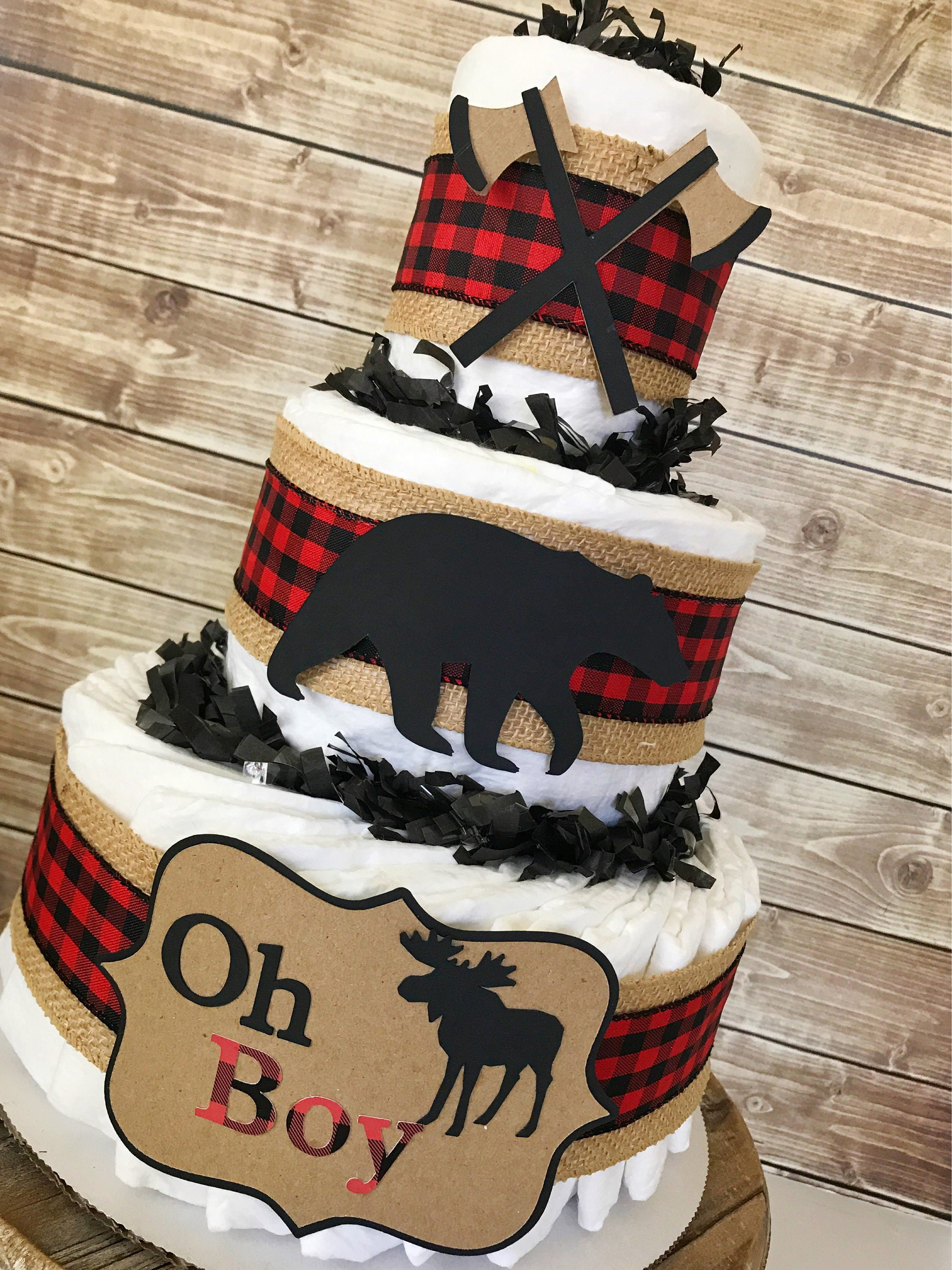Oh Boy Buffalo Check Diaper Cake, Lumberjack Baby Shower Centerpiece, Hunting  Baby Shower Decorations