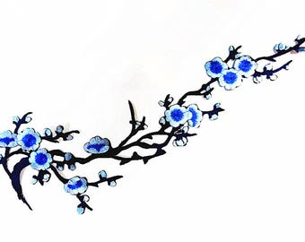 Large Size Blue Light Blue Dark Blue Flower (16.5 x 34 cm) Full Embroidered Applique Iron on Patch (AL)