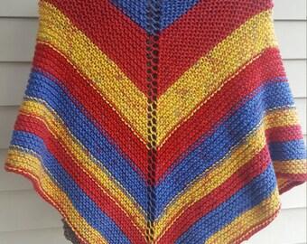 shawl, knit shawl, multicolor shawl (rocket pop)