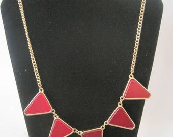 Vintage Gold Tone Necklace with Red Glass