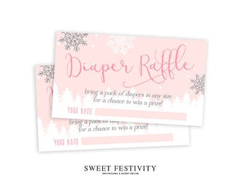Baby It's Cold Outside Diaper Raffle Cards, Printable, Diaper Raffle Tickets, Winter Baby Shower, Snowflake, Invitation Insert, Pink, Girl