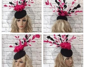 Pink & Black Felt Pillbox Hat, Feather Fascinator, Race Day Fascinator, Kentucky Derby Fascinator