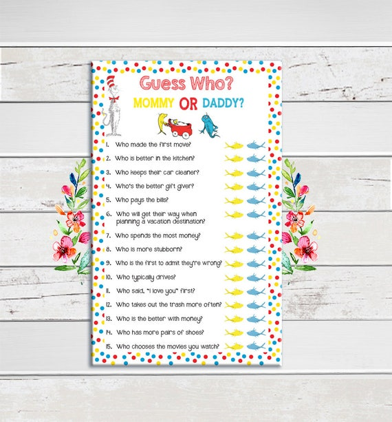 Dr. Seuss, Baby Shower Game, Guess Who, Coed Baby Shower Game, Couples Baby  Shower Game, He Said She Said, Instant Download