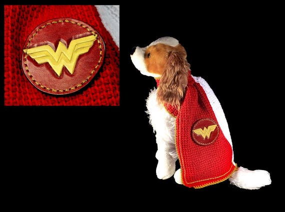 Wonder Woman Pet Costume, Halloween Costume, Dog Costume, Cat Costume, Superhero Costume, Crochet, Photo Prop, Fits 10 to 20 lb. Pet