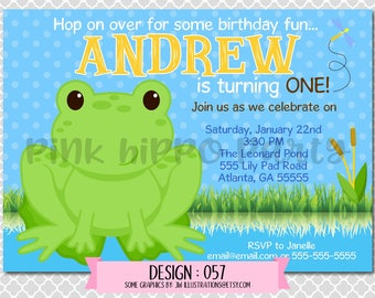 Froggy Boy, Frog, Pond:Design #057-Children's Birthday Invitation, Personalized, Digital, Printable, 4x6 or 5x7 JPG