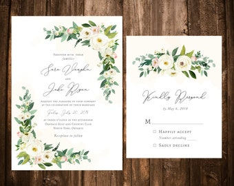 Blush & White Watercolor Floral Wedding Invitations; Printable OR set of 25