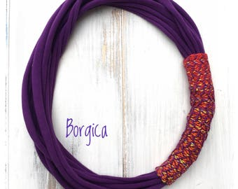 Purple Multistrand Wrap Scrap Textile Necklace - Infinity Necklace - Recycle Fabric Jewelry - Babywearing Mom Gift - Vegan - Allergic Free