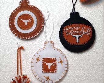 University of Texas Longhorn Felt and Pompom Hat Christmas Ornaments
