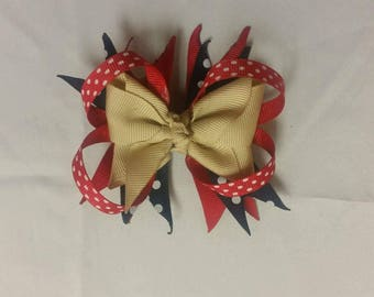khaki, red, blue bow