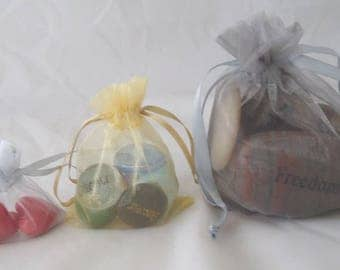 Organza Gift Bags - Set of 10; 3 Sizes in Gold and Silver