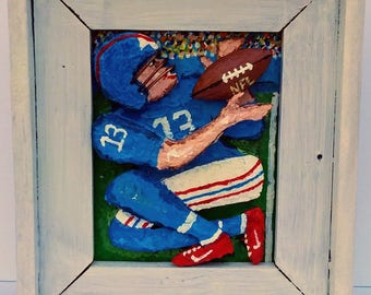 Football Player:  Original 3D Mixed Media  Art Painting Gift Reclaimed Wood Frame
