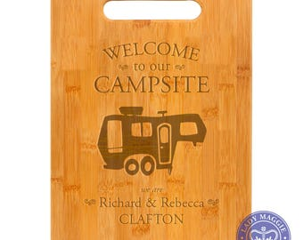 Personalized 5th Wheel Camper Cutting Board 11.5 x 8.75 - Welcome to our Campsite Bamboo Custom Engraved Cutting Board - Fifth Wheel Camper