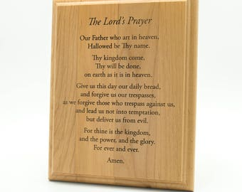 Lord's Prayer Wooden Plaque - Lord's Prayer Engraved 7 x 5 Alder Wall Plaque - Prayer Plaque - House Blessing Prayer