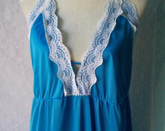 Vintage Halter Night Gown Blue Lace Long Maxi L Undercover Wear White Backless Empire Waist