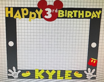 Mickey Mouse birthday party frame decor. Mickey Mouse photo frame decor. Mouse Mickey Mouse ears, hands, shoes ,buttons, and additional pant