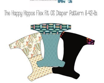 Flex Fit OS (One Size) Cloth Diaper PDF Pattern. The Happy Hippos Fits Approximately 9-42lbs. (AI2,AIO,Fitted, Pocket)
