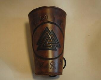 Hand made Viking leather bracer, Armor