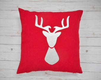 Silver Deer Pillow Cover, Metallic Silver, Christmas Decor, Red Pillow, Deer Head Silhouette, Christmas Deer, Reindeer Pillow, Red & silver