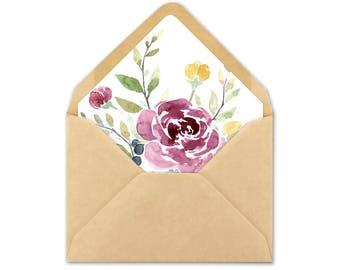 Watercolor Envelope Liner Template - Flower Envelope Liner Printable - Fall Floral Envelope Liners - Watercolor Flower Envelope Liners