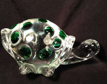Very Heavy Clear Glass Turtle Paperweight With Green Polka Dots, Art Glass Turtle, Desk Decor, Collectible Turtle.