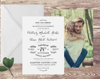 The Hampton Wedding Invitation with Photograph and RSVP, Photograph Wedding Invitations, Black and White Wedding Invitation, Elegant Wedding