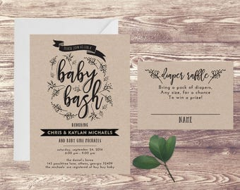 Printed Baby Bash and Diaper Raffle Baby Shower Invitation on Kraft Paper, Diaper Bash Shower Invite, Baby Sprinkle, Couples Baby Shower