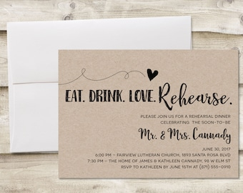 Rustic Rehearsal Dinner Invitation, Rehearsal Dinner Invitation, Invitation for Rehearsal Dinner, Wedding Rehearsal Dinner Invitations