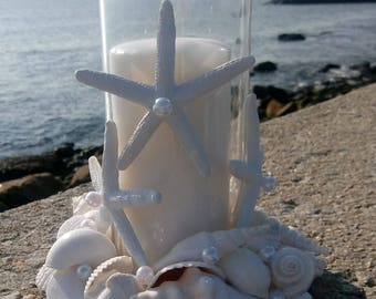 Wedding Centerpiece - Beach Decor - White Shell Wreath With Candle (LSC011)