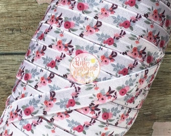 "White Cheeky Fall Floral 5/8"" Fold Over Elastic 1, 3 or 5 yards"