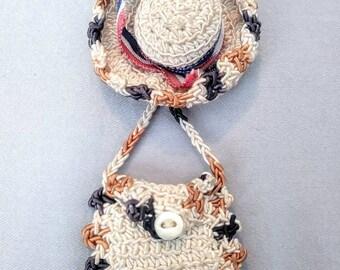 1940s Crochet Hat and Purse Novelty Brooch Grosgrain Trim