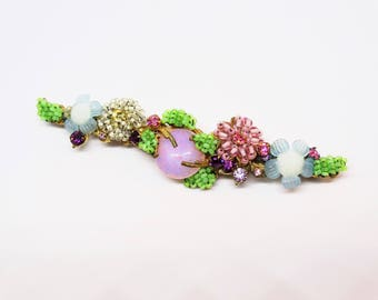 Vintage Miriam Haskell Branching Flower Brooch Glass Bead Rhinestones Gold Pink Quartz Color Stone
