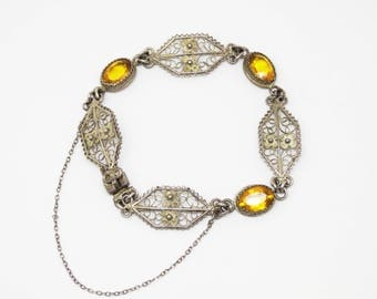 Art Deco 800 Silver Citrine Topaz Glass Filigree Link Bracelet