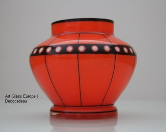 Tango glass vase in orange/red, decorated in black and white enamel paint.
