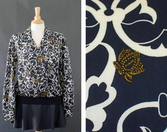 Vintage Floral Long Sleeve Blouse, Women's Button Up Blouse, Secretary Blouse, 80s Elastic Waist Band Shirt, Black Gold Blouse, Black Sheer