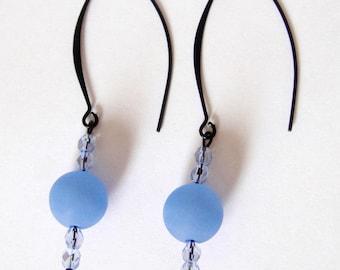 Black half hoop earrings light blue polaris beads