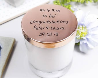 Scented Engagement Candle With Lid - Engagement Candle - Scented Candle - Personalised Candle - Candle With lid - Congratulations Candle