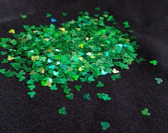 solvent-resistant glitter shapes-green holo mickeys