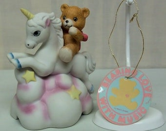 Teddy Bear - Unicorn Music Box by Willitts Designs - Bearing Love Collection