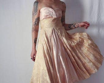 1940s golden damasked silk satin strapless evening gown