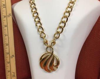Big Bold Gold Tone 70's Napier Pendant Necklace.  Free e