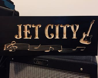Custom Bar Sign, Man Cave Sign, Rock Star, Guitar, Music Room, ManCave Signs, Personalized Carved Sign, Studio Signs , Wall Art, Music Notes
