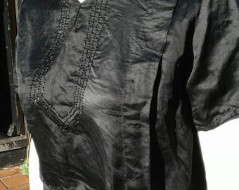 Lovely stylish practical 1920s black silk volup plus size blouse with beading detail