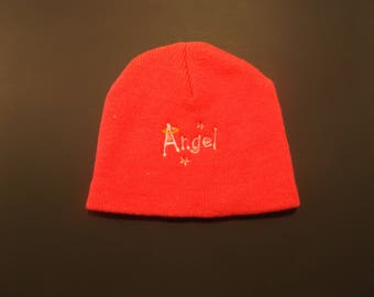 "Hat with ""Angel"" embroidered on it"